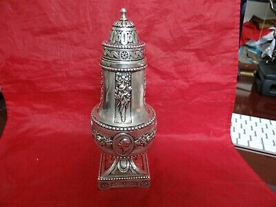 Rare Antique 18/19th Century Highly Ornate Repousse Silver Plate Sugar Caster