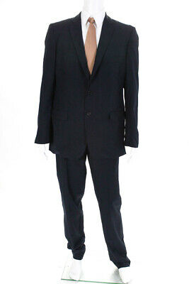 Prada Mens Two Button Blazer Straight Leg Pants Wool Suit Navy Size 46R LL19LL