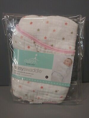 aden + anais Girls Easy Swaddle Size Large 3-6 months Pink White Star NWT
