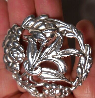 Antique Sterling Silver Pin Floral Brooch SOLID 925 Estate Vintage Jewelry