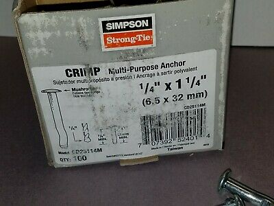 "Simpson Strong-Tie CD25114M Crimp Anchor-Mushroom Head 1/4"" x 1-!/4"" 100 per Box"