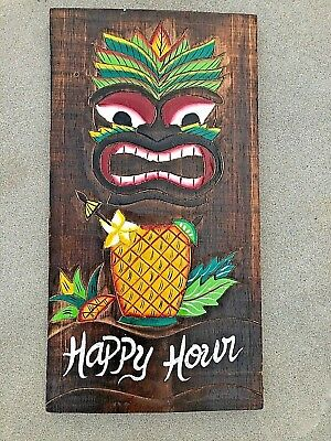 Awesome Happy Hour Hand Carved Wood Sign Wall Art Tropical Patio Tiki Decor
