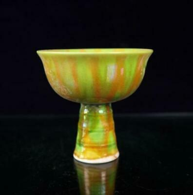 collect china old hand-made tiger skin glaze porcelain goblet cup /Wb02