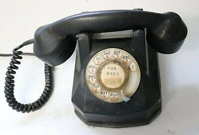 Vintage Rotary Dial  Table Phone Telephone Bakelite Cabinet
