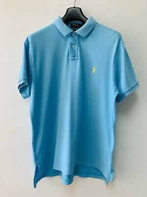 Ralph Lauren Bright Blue Cotton Polo Shirt Sz Large Embroidered Yellow Logo