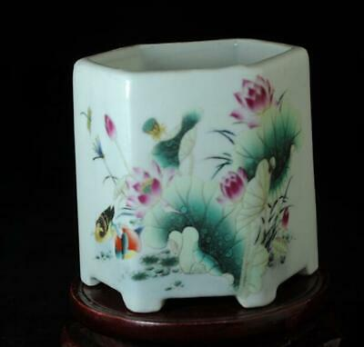 China Old Hand-made Famille Rose Porcelain Lotus Pond Hexagonal Brush Pot B02