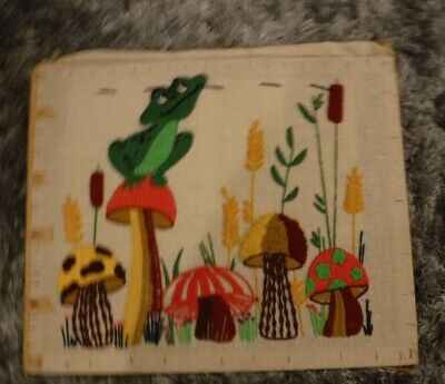 Hungry Frog With Mushrooms Vintage Tapestry Needlework Art Work Sultana