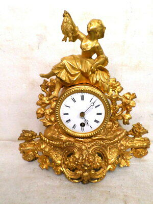 1895 French Statue Clock By Marti With Porcelain Dial