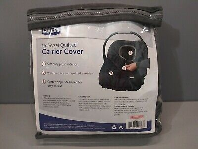 Chicco NEW Universal Quilted Carrier Cover Black Weather Resistant Zipper Access