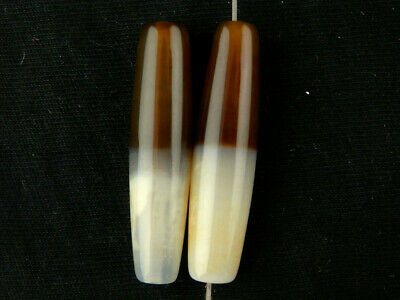 2Pics Great Pure Tibetan Natural Agate Dzi 35mm Beads Z051