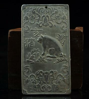 Old china hand-made copper-plating silver Chinese Zodiac pig waist tag joker a01