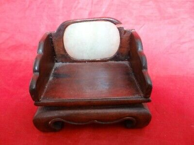 Antique Chinese Small Carved Chair With Large Green Mutton Jade Insert