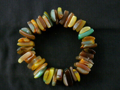 Great Pure Large Tibetan Natural Agate Dzi Flat Beads Bracelet Z089