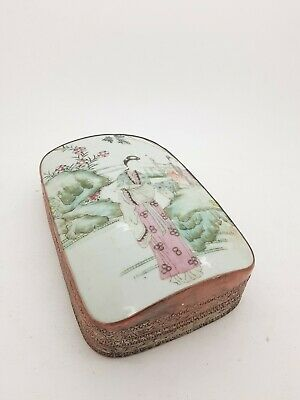RARE ANTIQUE Oriental Silver Plated Copper Box W Insert Painted Porcelain Panel