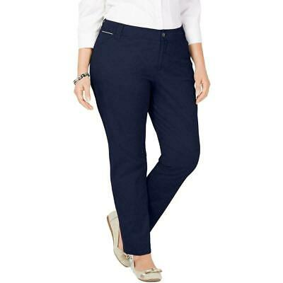 Charter Club Women's Blue Size 20W Plus Slim Leg Khakis Pants Stretch $69 #293