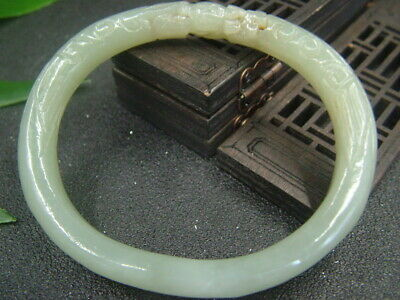 Antique Chinese Celadon Nephrite Hetian-jade bangle double-Dragon bracelet