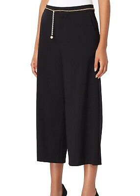 Tahari by ASL Women's Dress Pants Black Size 4 Belted Wide Leg Cropped $99 #696