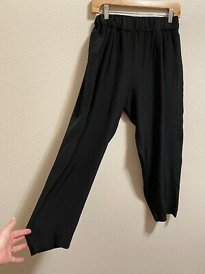 EUC Urban Zen 100% Silk Pants Black Tapered Leg Cropped S Small Pockets