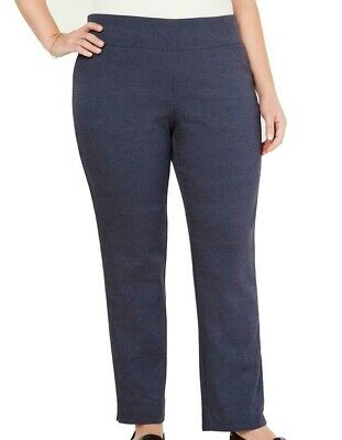Charter Club Women's Blue 16W Plus Slim Leg Tummy Control Pants Stretch $79 #038