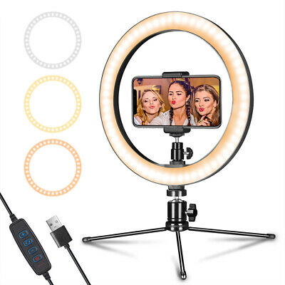 """Ring Light 10"""" with Short Tripod Stand&Phone Holder for Streaming, Makeup,Selfie"""