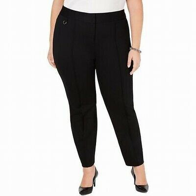 Alfani Women's Dress Pants Black Size 20W Plus Comfort-Waist Pintuck $79 #032