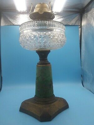 Antique Victorian 1800s Hand Painted Crystal Font Oil Lamp