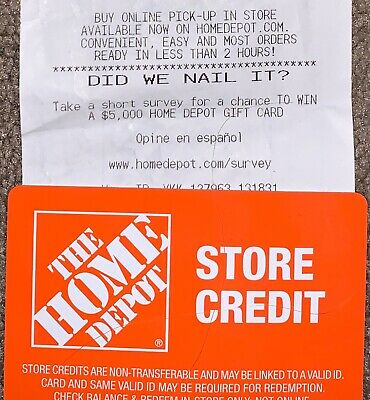 Home Depot Store Credit worth $583.00 NO RESERVE!!!