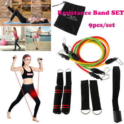9pc Resistance Band Set Exercise Fitness Tube Workout Bands Strength Training US