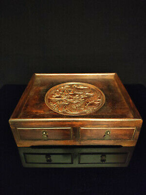 A Rare Chinese Antique Ming Dynasty Rosewood Huali Tea Tray with Drawers