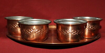 Vintage Hand Made Copper set 4 cups and tray