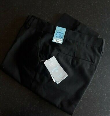 Marks & Spencer M&S Boys School Trousers 15-16 Yr Skinny Leg Flat BNWT Black