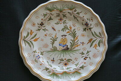19thC French Moustiers Faience Plate chinoiserie design Joseph Olery