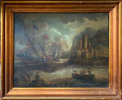 Fine 17Th/18Th Century Italian Oil On Canvas - Galleons Off Fortified Harbour
