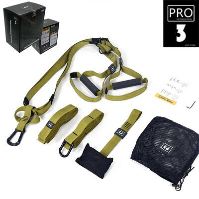 Bodyweight Resistance Straps Suspension Trainer Home Fitness Kit Army Green Pro3