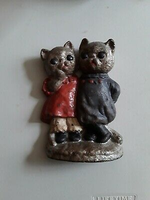 Antique Two Kittens Cast Iron Door Stop Hubley 7 1/2 inches tall