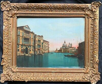 Fine 19Th Century Italian Oil Painting - The Grand Canal Venice - Period Frame