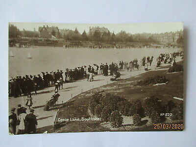 SOUTHSEA CANOE LAKE EDWARDIAN RP POSTCARD POSTED PORTSMOUTH MAy 1913
