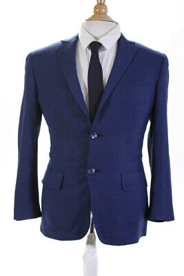 Giliberto Mens Two Button Notched Lapel Blazer Jacket Blue Wool Size 34