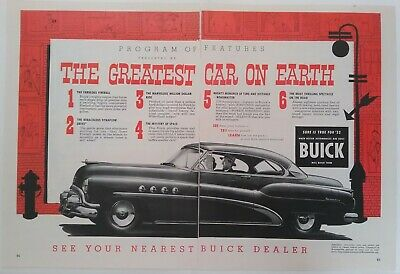 1952 Vintage 2 Page Buick Car Print Ad Advertising