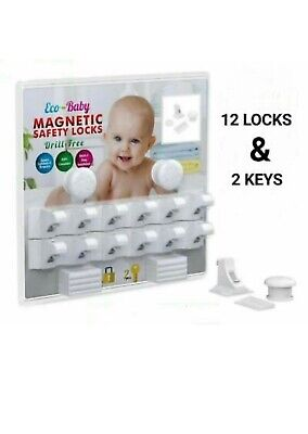 Eco-Baby 12 Pack Safety Magnetic Cabinet and Drawer Locks for Proofing Kitchen