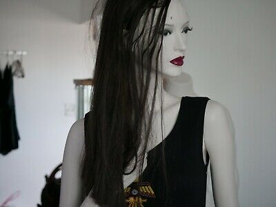 """6""""2 Full body mannequins with hair, eyes, lips, good condition, with stand shirt"""