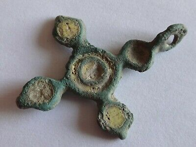 Ancient Byzantine Reliquary Enamelled Cross  4,42 g / 34-24  mm