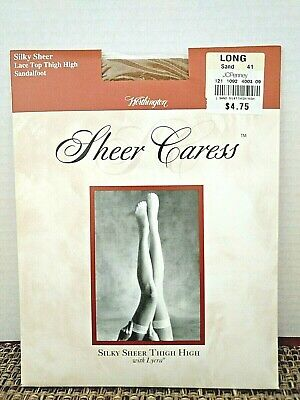 Vintage JCPenney Sheer Caress Thigh High Long Sand Silky Sheer Nylon Sandalfoot
