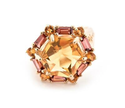 10k Yellow Gold Citrine and Garnet Ring