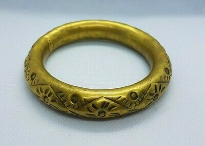 Extremely Rare Ancient Viking Bronze Bracelet Authentic Gold Color Artifact