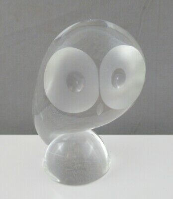 """Steuben Signed Crystal Owl Figure Designed By Donald Pollard 5 1/2"""" Tall"""