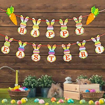TUPARKA 2Pcs Colorful Happy Easter Banners Easter Burlap Banner Easter Bunny Bunting Garland Easter Decorations for Home Easter Party Supplies