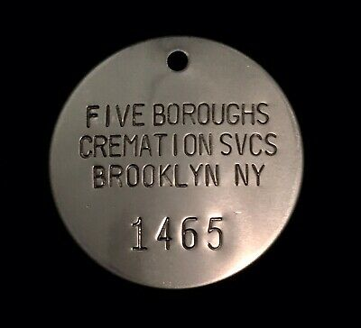 Vintage Five Burroughs Brooklyn NY Crematory Cremation Token Funeral Toe Tag