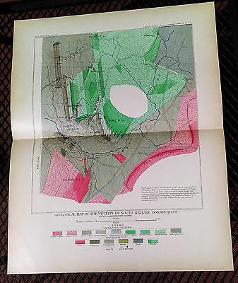 1899 USGS Geological Map South Britain Connecticut Pine Hill Horse Hill