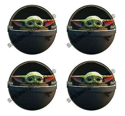 4 Baby yoda in pod decal magnet star wars ps4 DIE CUT Magnets OR 4 NEW STICKERS